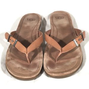UGG Leather Sandals Thong Slip On Tan